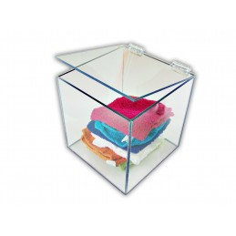 Set of (2pcs) Clear Acrylic Boxes - With Top Hinged Lid