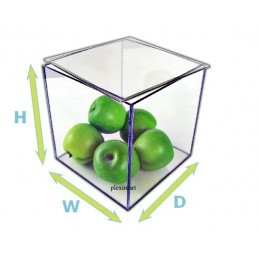 "4""x 4""x 4"" - 1/8"" Thick Acrylic Box w/ Easy Removable Top Lid"