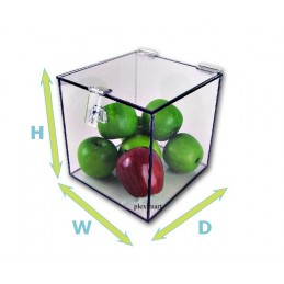 "14""x 14"" x 14"" - 3/16"" Thick Clear Acrylic Plexiglass Box w/ Hasp Lock Lid"
