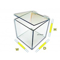 "3/16"" Thick Acrylic 5-Sided Box w/ Hinged Lid"