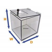"3/16"" Thick Clear Acrylic Lockable Ballot Box"