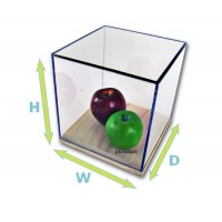 "3/16"" Thick Acrylic Display Boxes W/ Wood Bases"