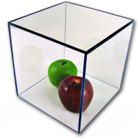 "1/8"" Acrylic Display Boxes W/ White Bases"