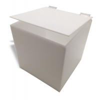 White Acrylic 5-Sided Box w/ Hinged Lid